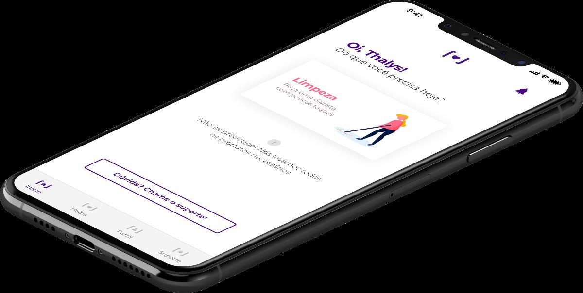 iPhone mostrando tela principal do aplicativo UmHelp